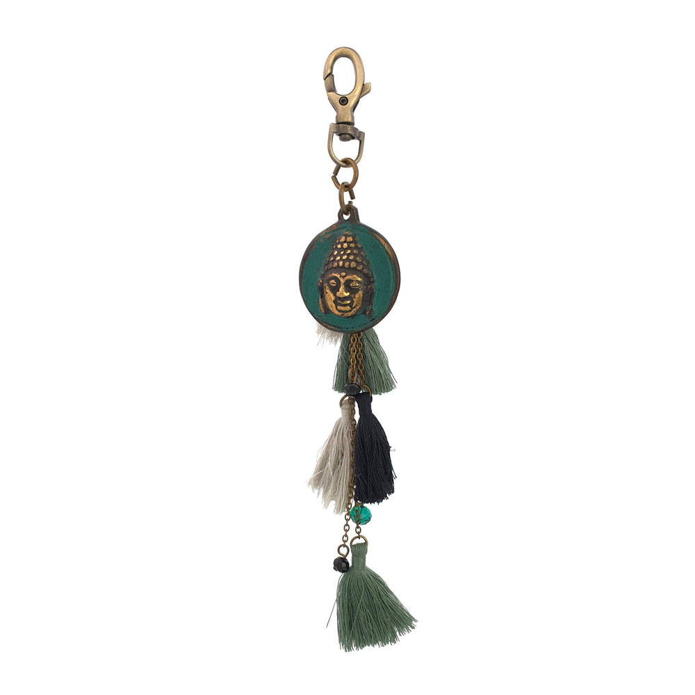 Load image into Gallery viewer, Keychain Tribal Tassel Buddha
