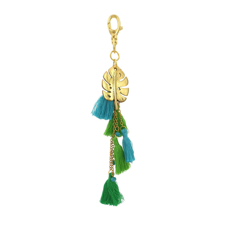 Brass keychain monstera leaf pendant with cotton tassels
