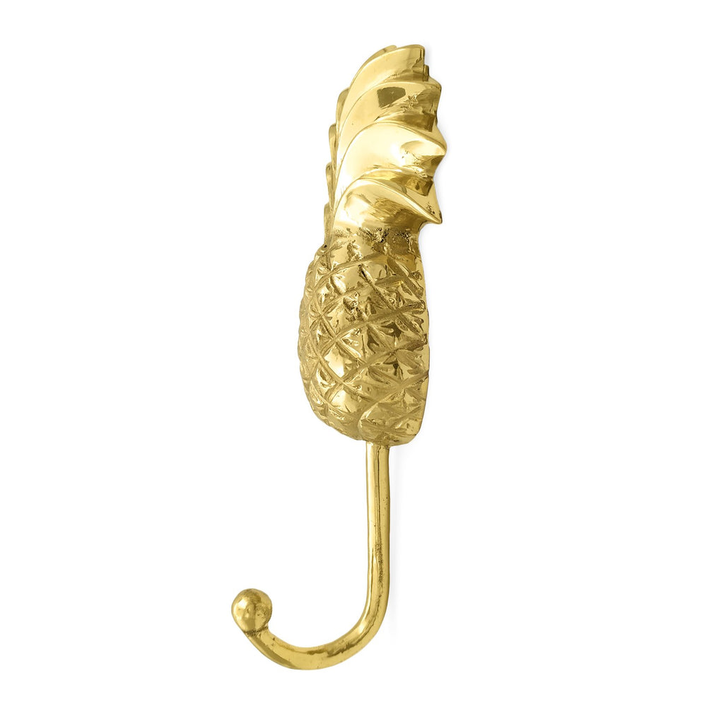 Load image into Gallery viewer, Handmade solid brass pineapple wall hook gold side view