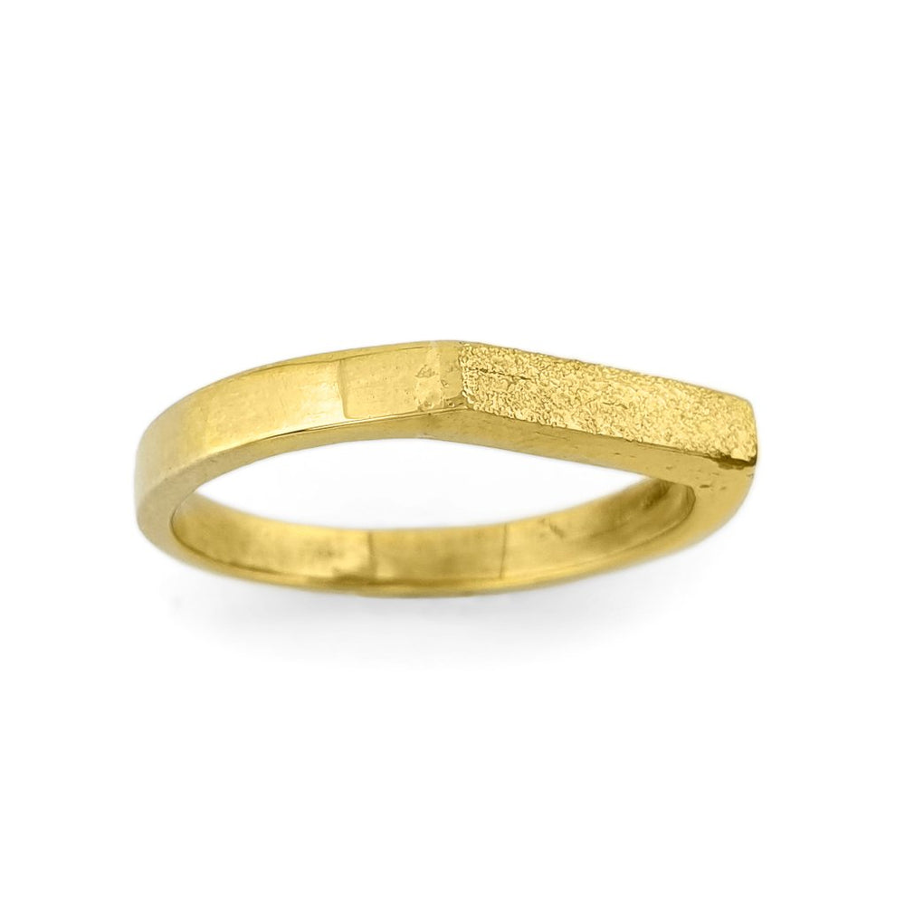Load image into Gallery viewer, Brass gold color ring with flat and hammered front surface side view