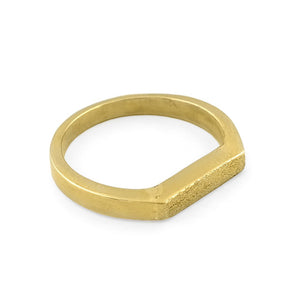 Load image into Gallery viewer, Brass gold color ring with flat and hammered front surface top view