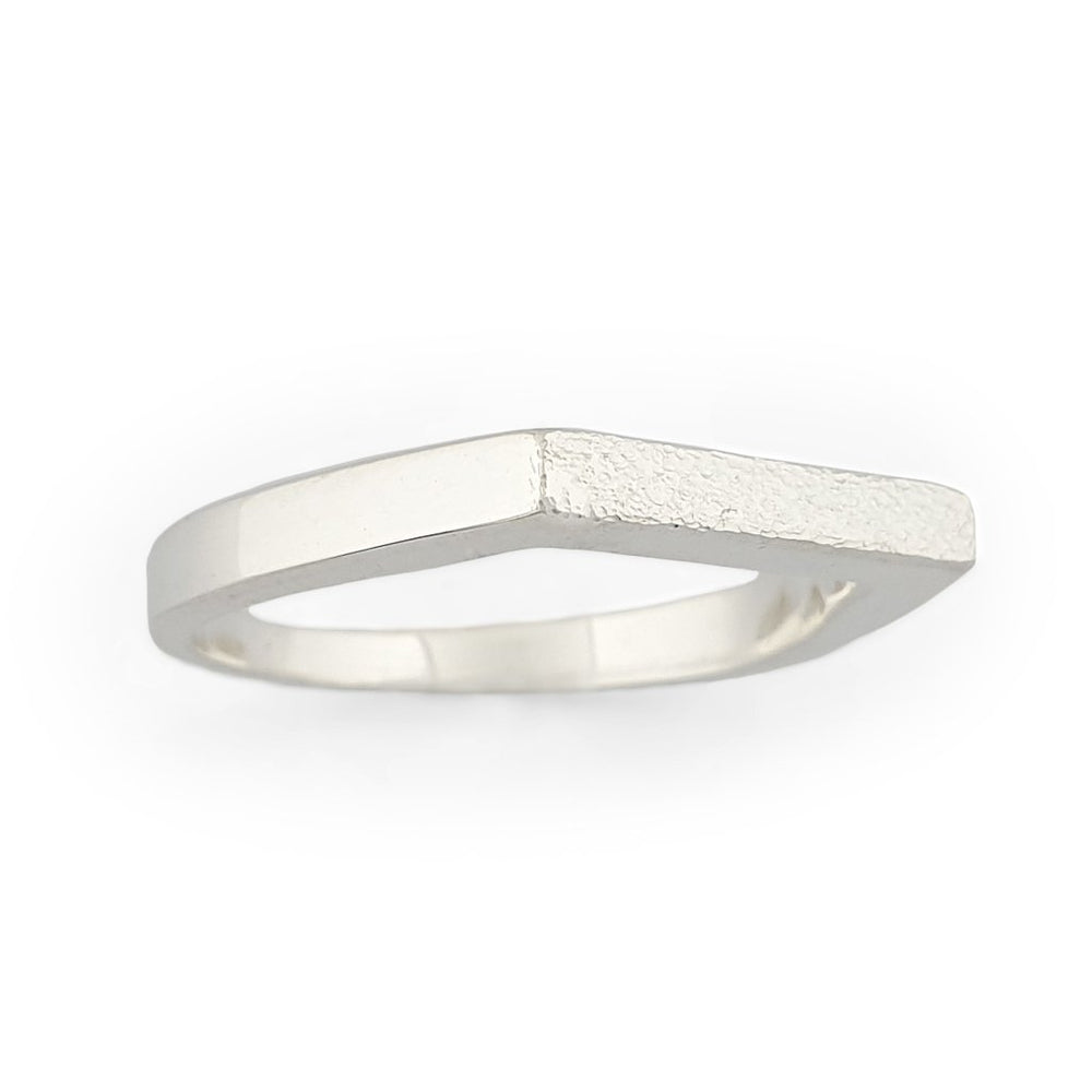 Load image into Gallery viewer, Brass silver color ring with flat and hammered front surface side view