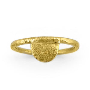 Load image into Gallery viewer, Brass gold color ring with hammered half moon shape front view