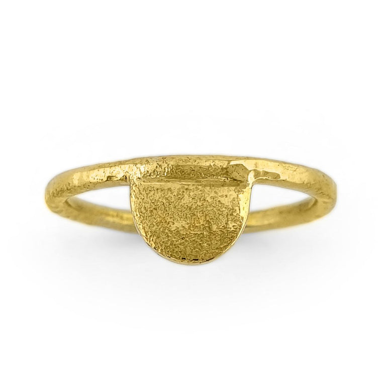 Brass gold color ring with hammered half moon shape front view