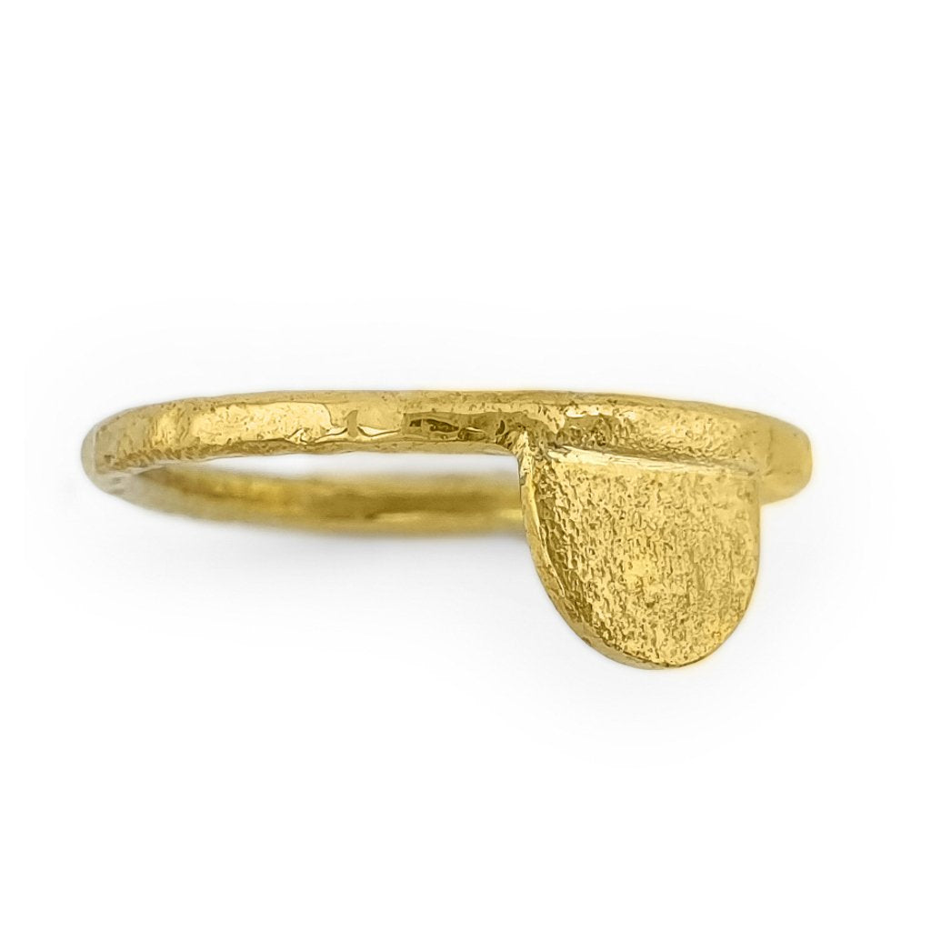 Brass gold color ring with hammered half moon shape side view
