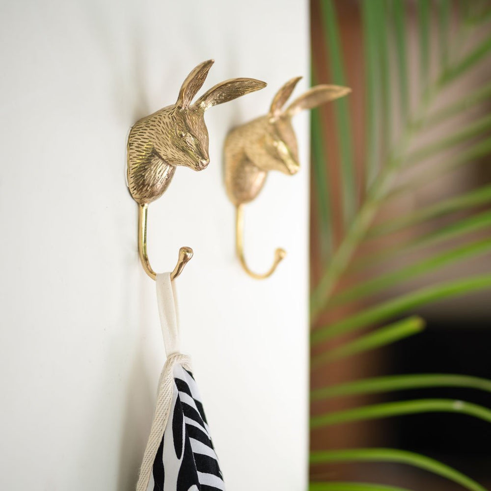 Solid brass wall hook hare on the wall