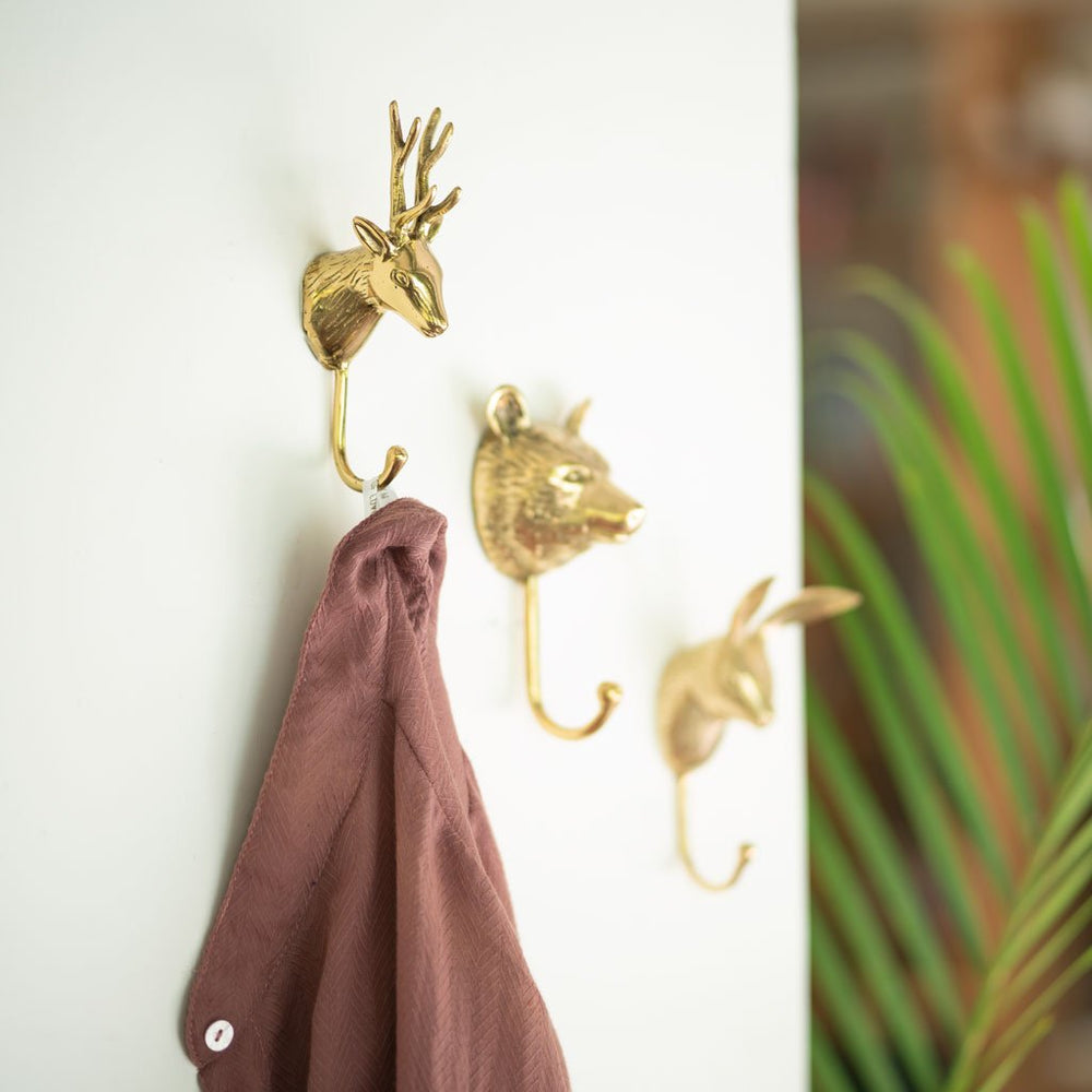 Solid brass wall hook stag
