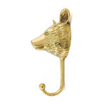 Solid Brass wall Hook Bear side