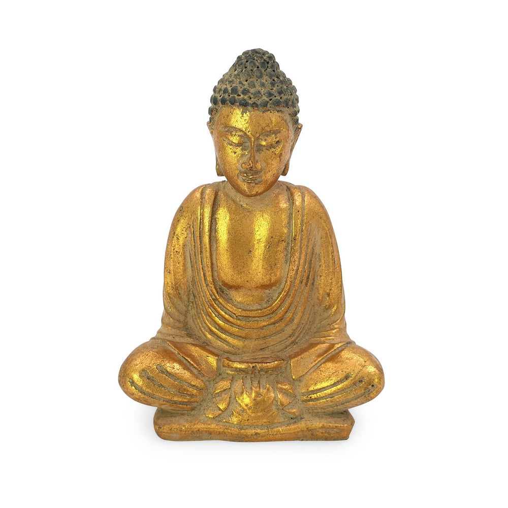 Load image into Gallery viewer, Buddha meditating statue resin gold