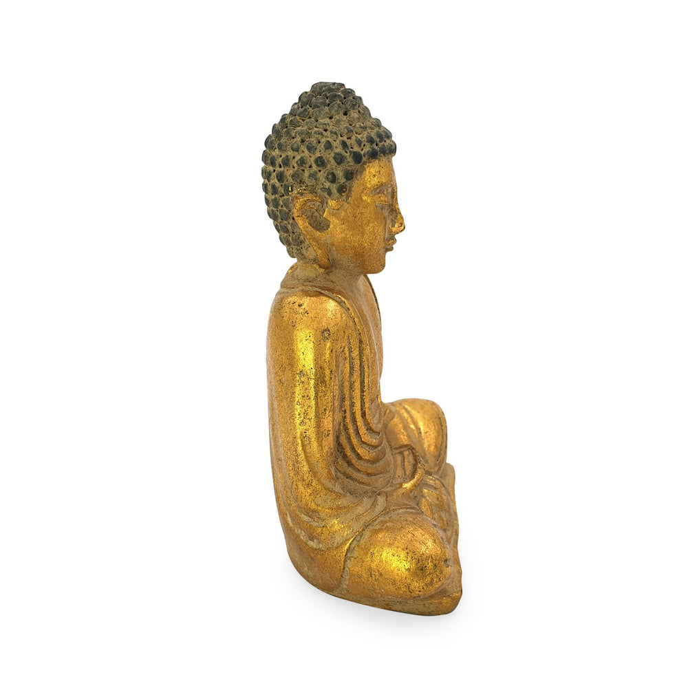 Load image into Gallery viewer, Buddha meditating statue resin gold side view