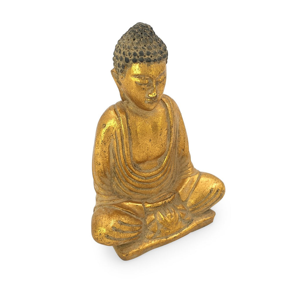 Load image into Gallery viewer, Buddha meditating statue resin gold angle view