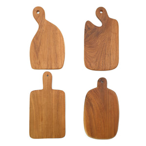 Load image into Gallery viewer, Set of Wooden cheese boards in 4 different shapes made of teak