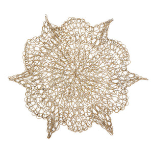 Load image into Gallery viewer, Handmade Coaster crochet wire gold flower