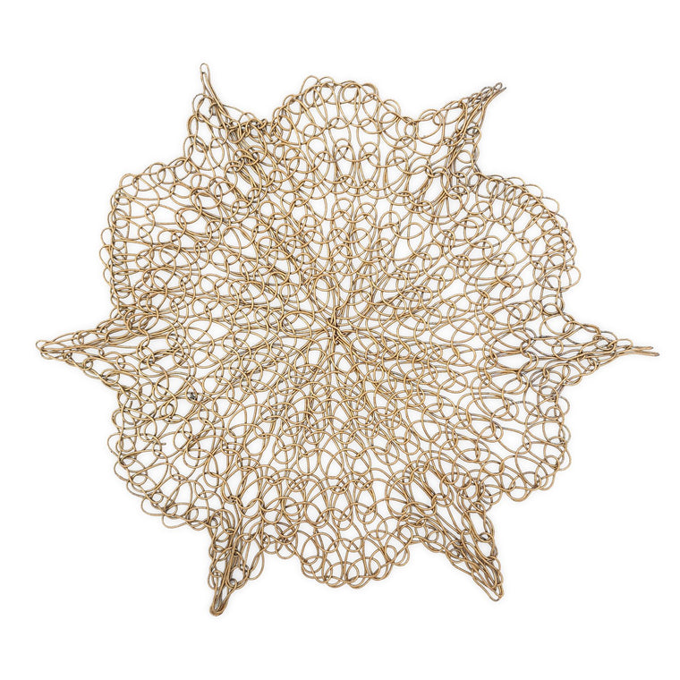 Handmade Coaster crochet wire gold flower