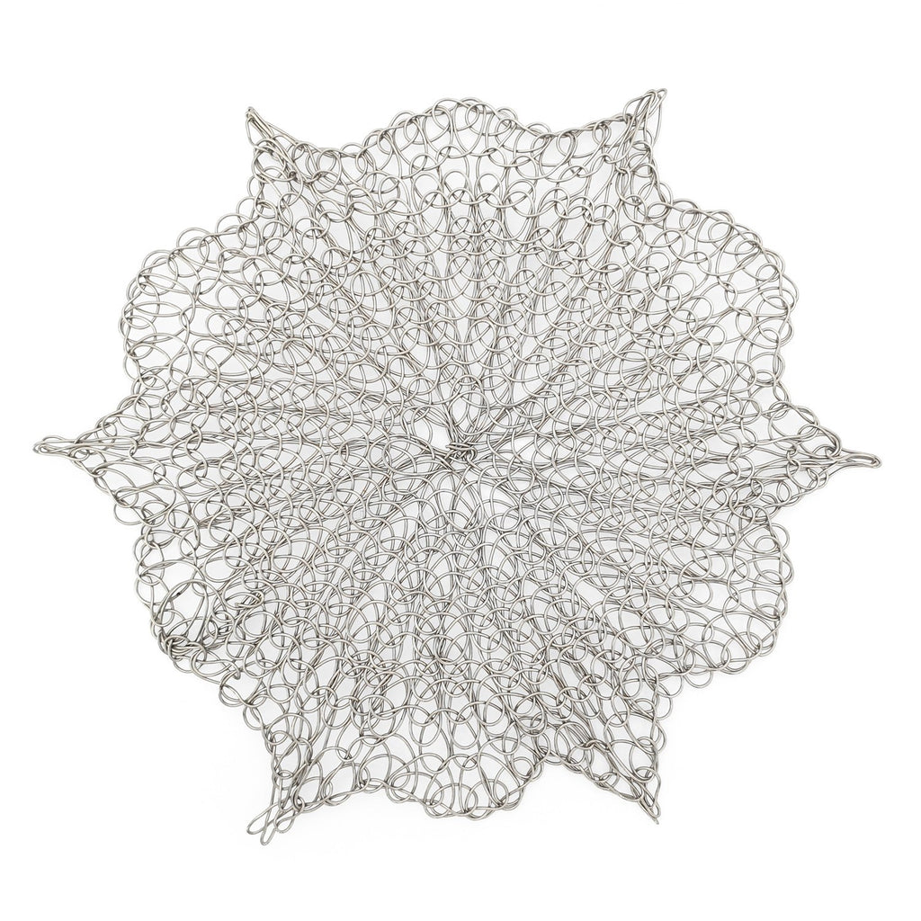 Handmade Coaster crochet wire silver flower