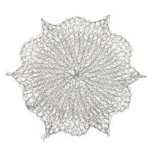 Load image into Gallery viewer, Handmade Coaster crochet wire silver flower