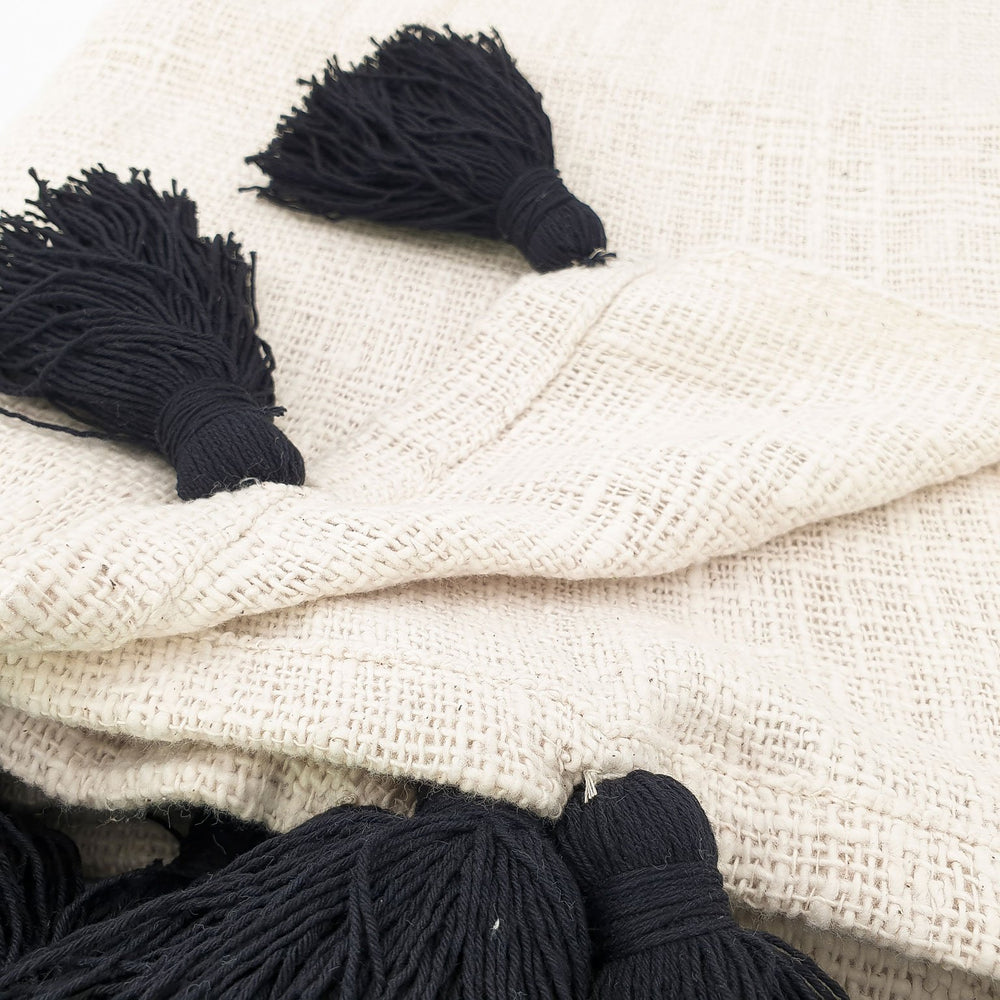 Load image into Gallery viewer, Handmade boho Cotton blanket with black tassel cream color detail