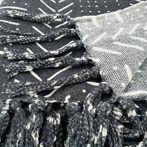 Load image into Gallery viewer, Handmade boho cotton blanket black color white print detail