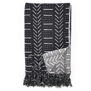 Load image into Gallery viewer, Handmade boho cotton blanket black color white print front view