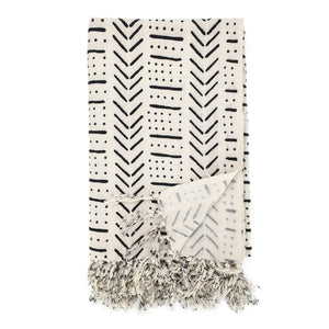 Load image into Gallery viewer, Handmade boho cotton blanket cream color black print front view