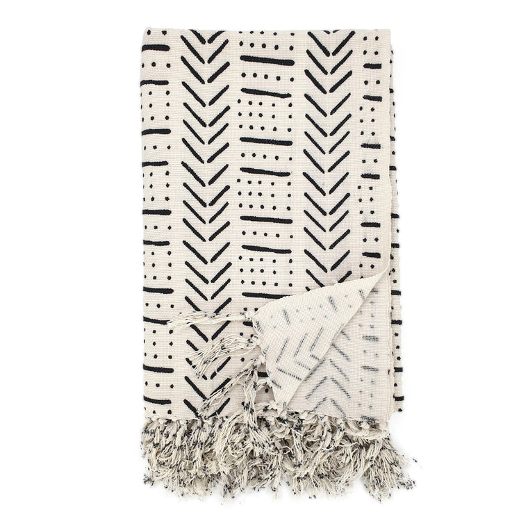 Handmade boho cotton blanket cream color black print front view