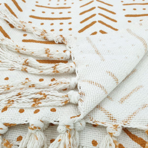 Load image into Gallery viewer, Handmade boho cotton blanket cream color orange print detail