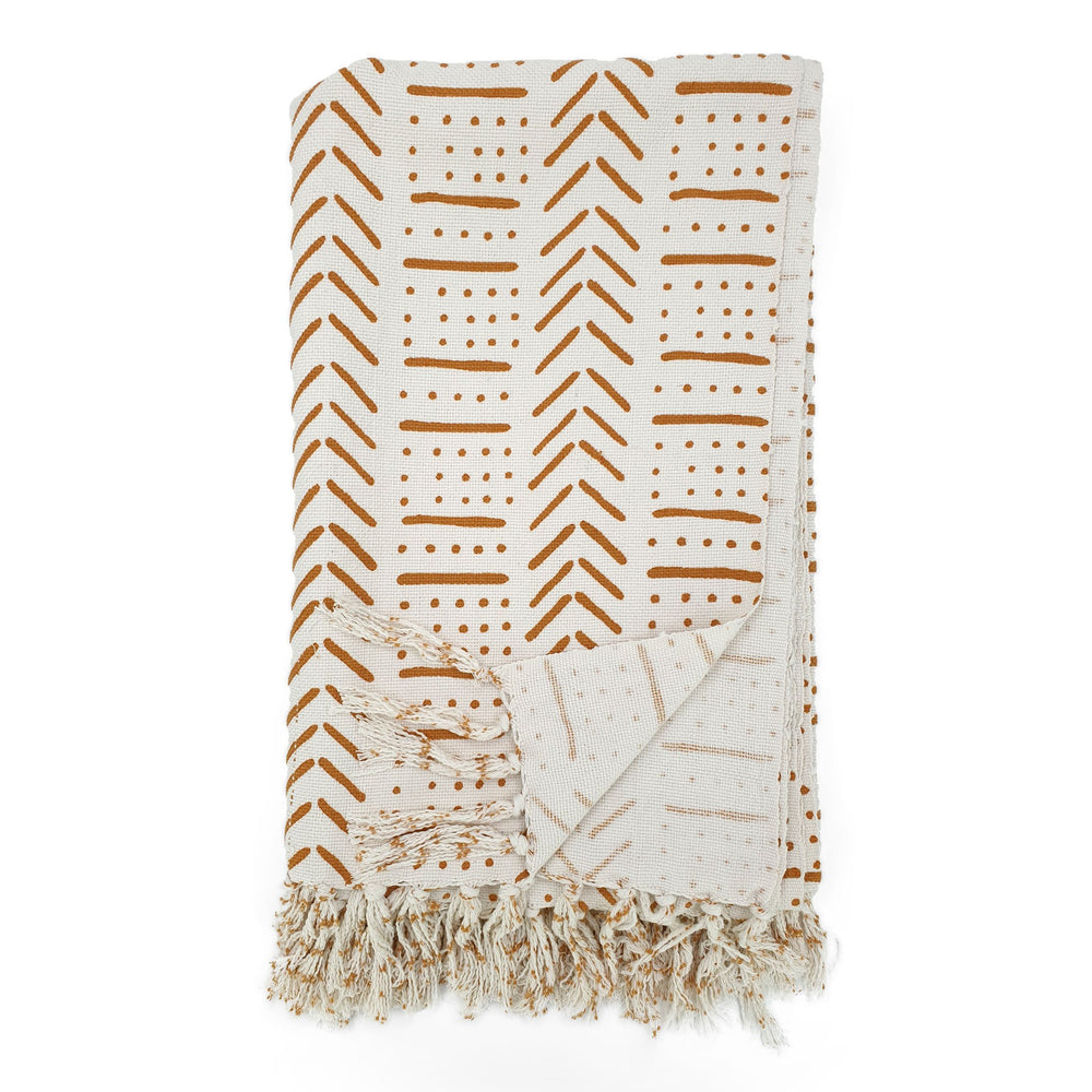 Load image into Gallery viewer, Handmade boho cotton blanket cream color orange print front view
