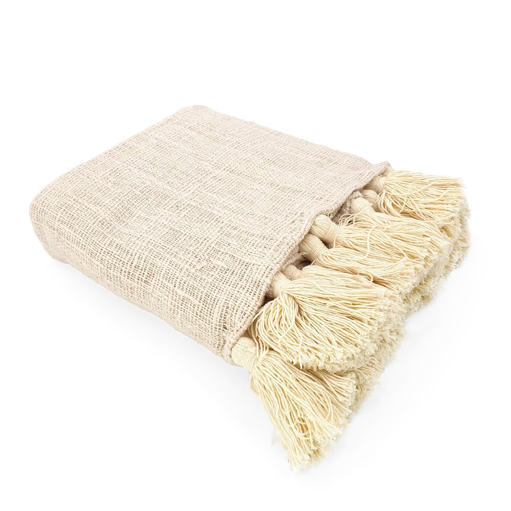 Load image into Gallery viewer, Handmade boho Cotton blanket with tassel cream color side view