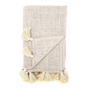Load image into Gallery viewer, Handmade boho Cotton blanket with tassel cream color front view