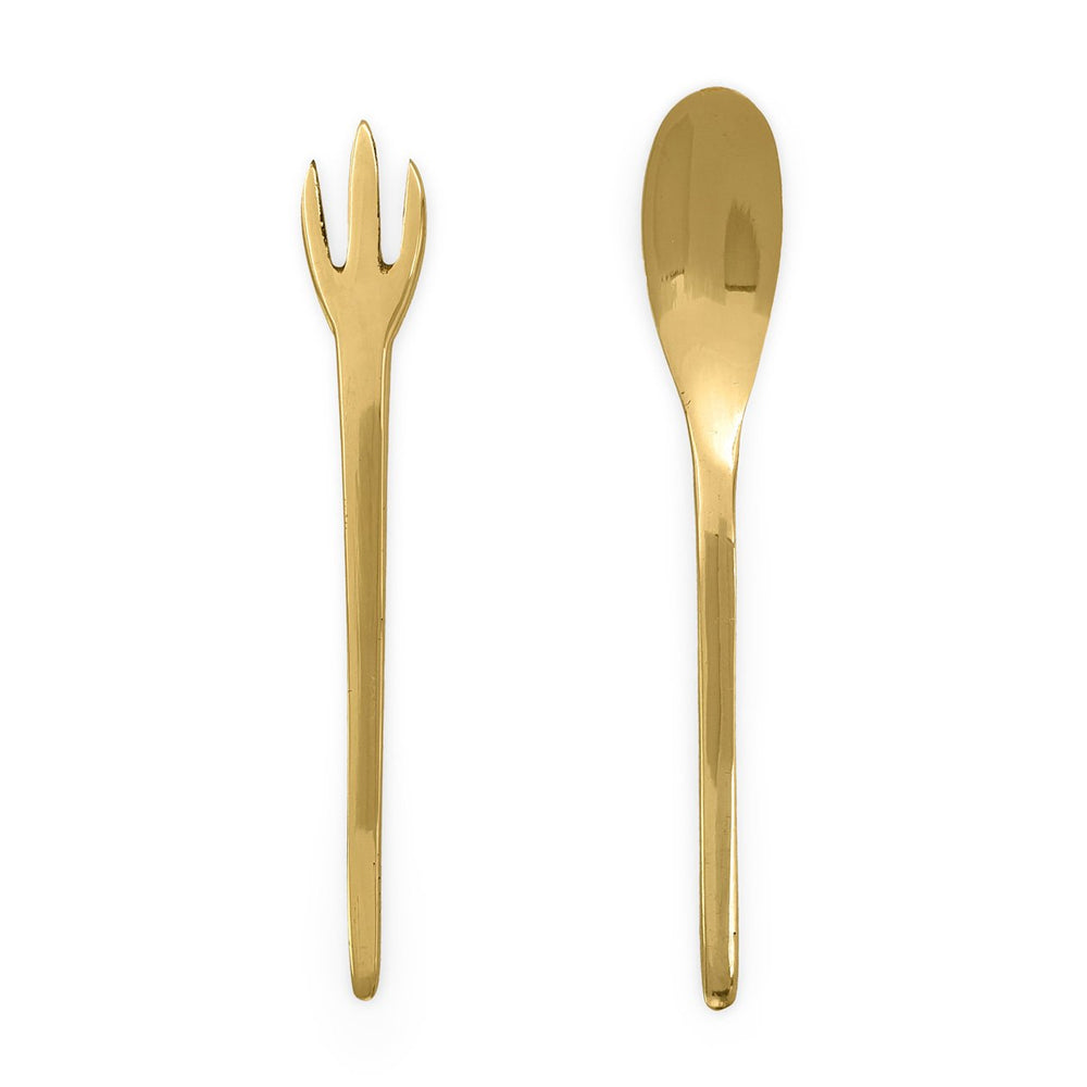 Load image into Gallery viewer, Handmade minimalist brass cutlery set XS