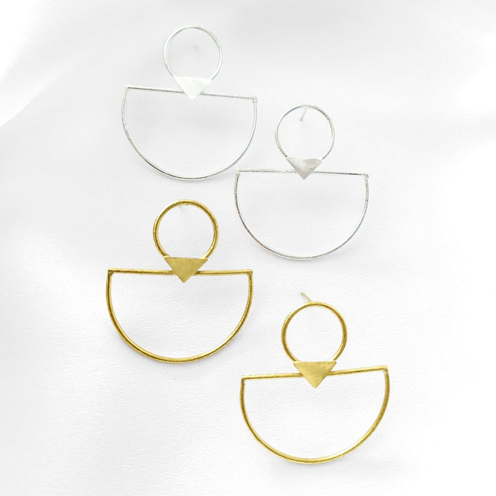 Earring Stud Circle Triangle