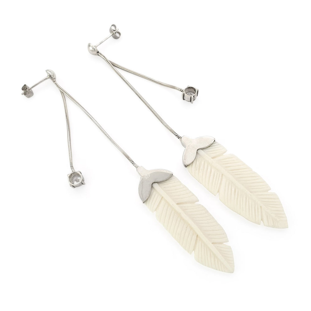 Load image into Gallery viewer, Silver 925 feather earring Hand carved bone and zircone side view