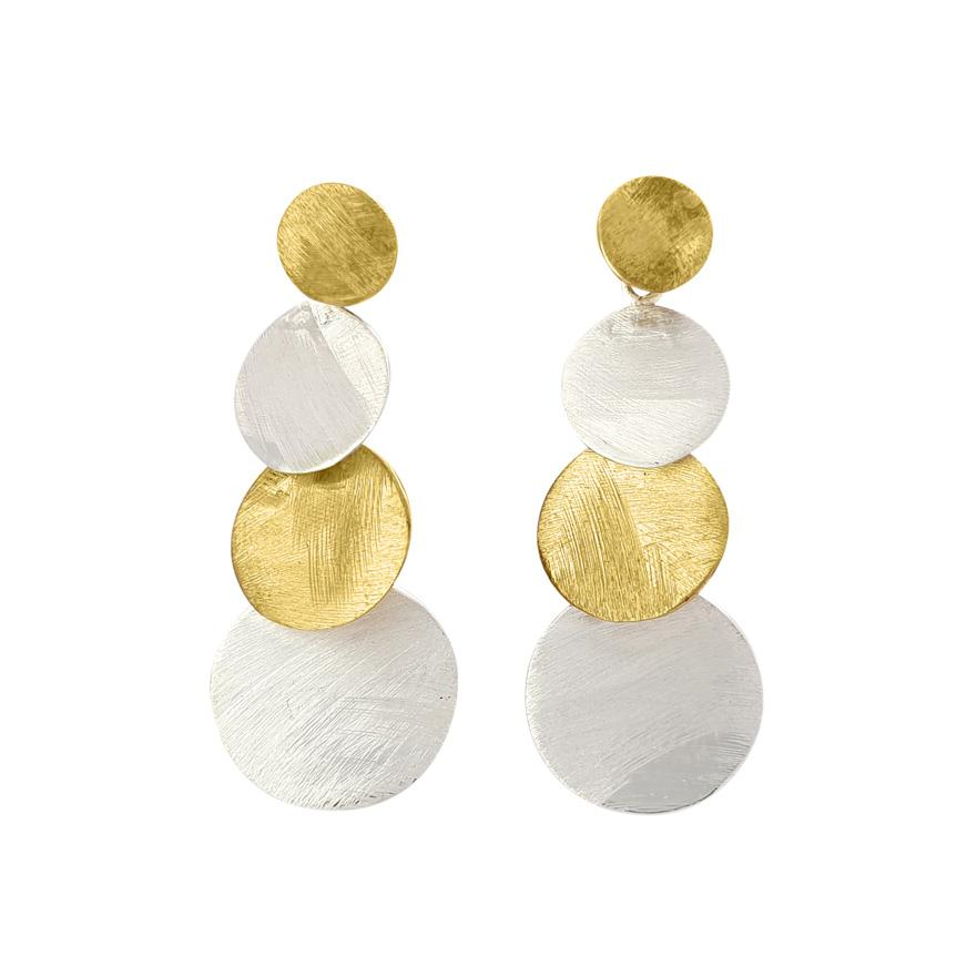 Brass geometric circle earring mix gold and silverplated