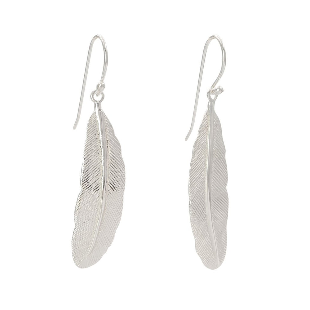 Brass boho silver plated earring light feather