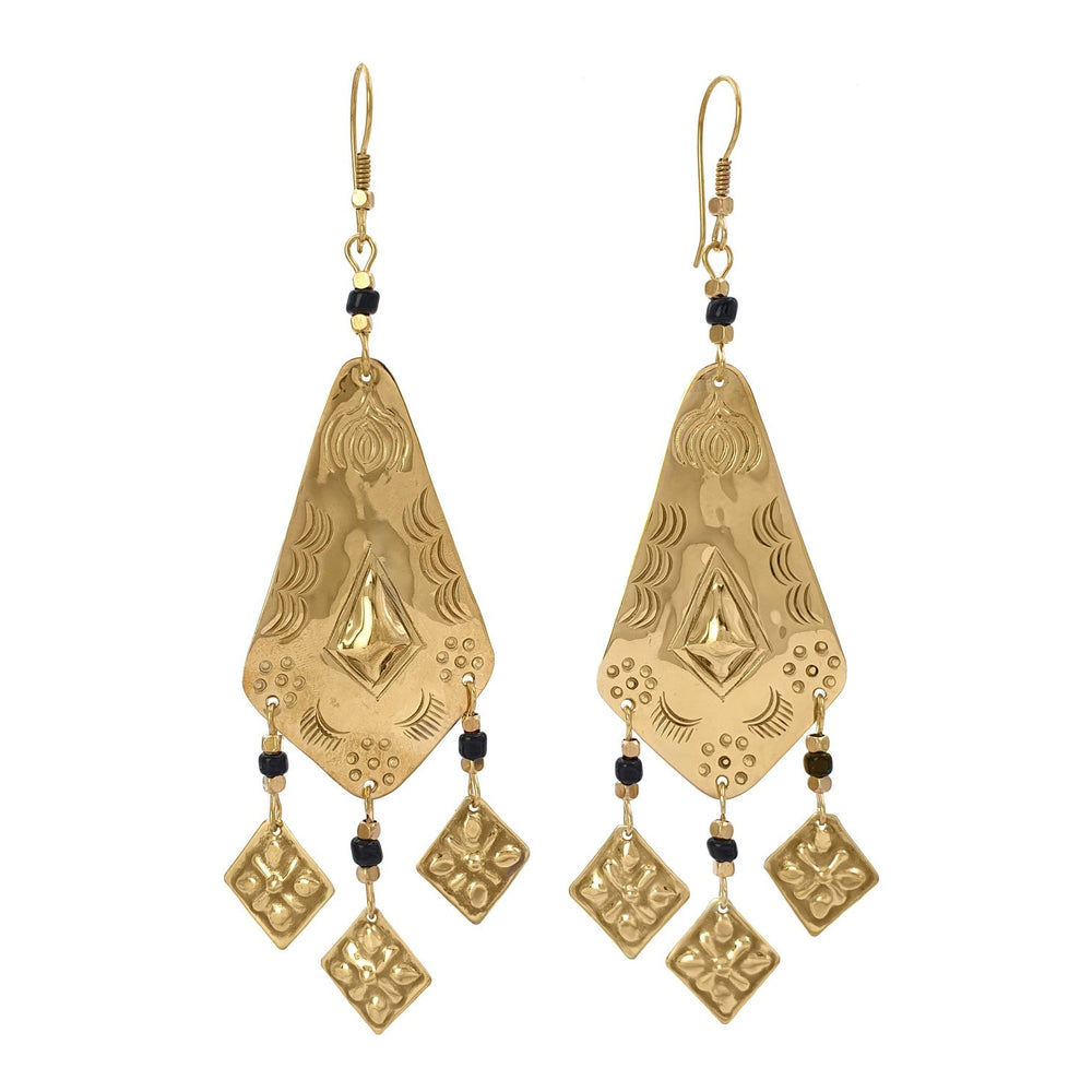 Earring tribal handmade berber brass black front view