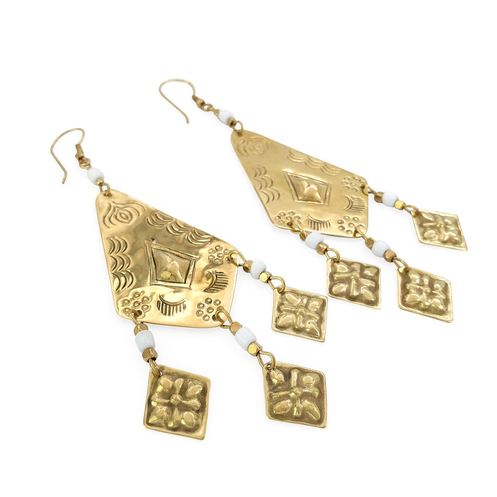 Earring tribal handmade berber brass white side view