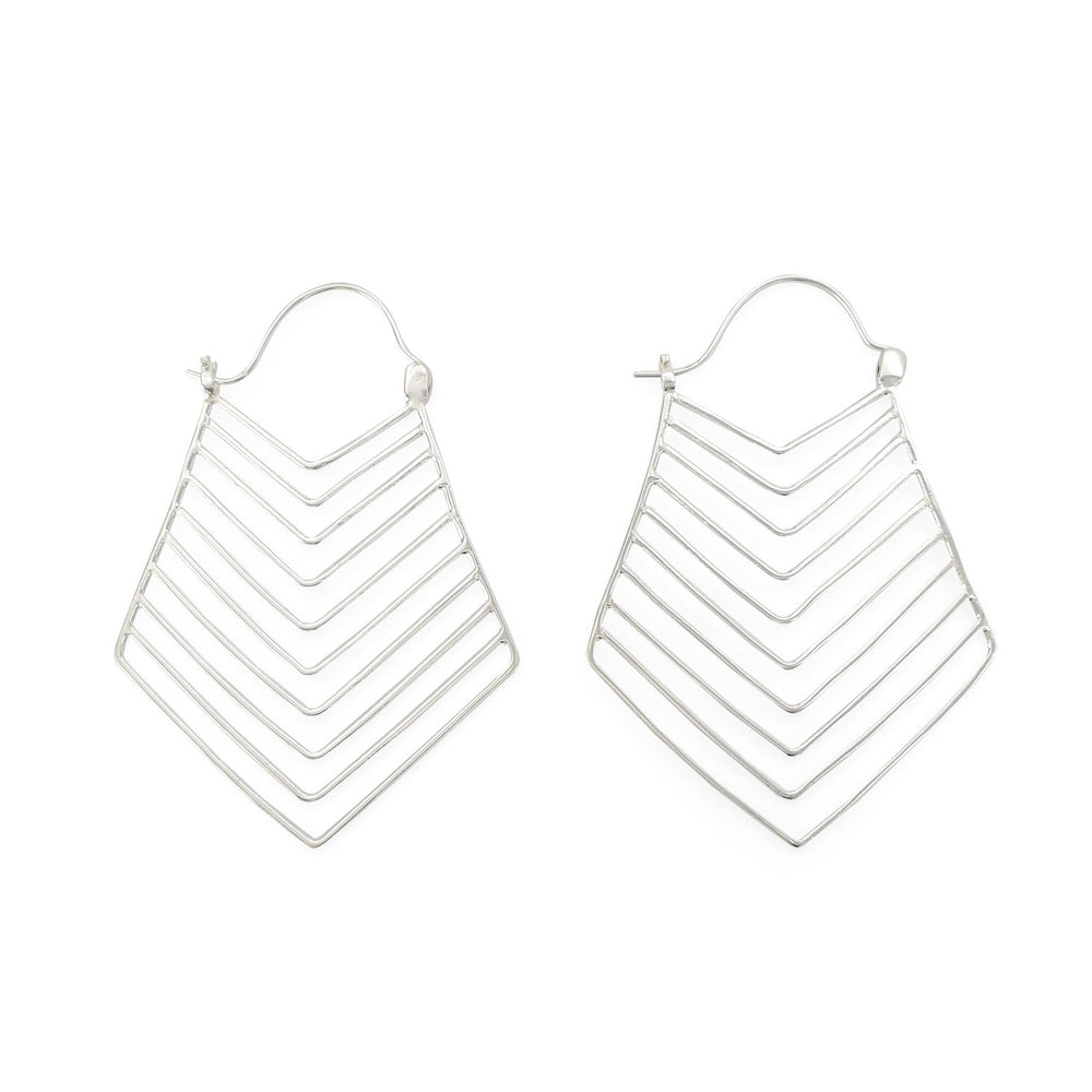 Load image into Gallery viewer, 925 Silver earring tribal lines XL
