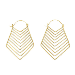 Load image into Gallery viewer, Brass earring tribal lines XL