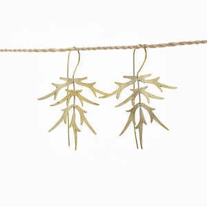 Load image into Gallery viewer, Earring Bamboo Leaf gold