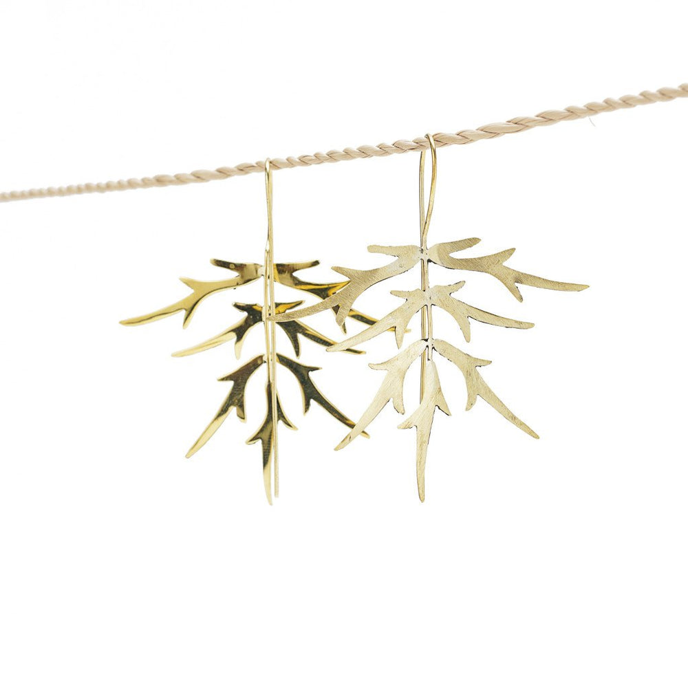 Load image into Gallery viewer, Earring Bamboo Leaf gold back