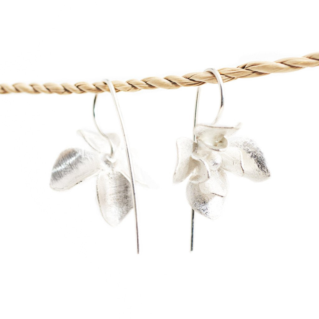 Earring Big Orchid Hook Silver
