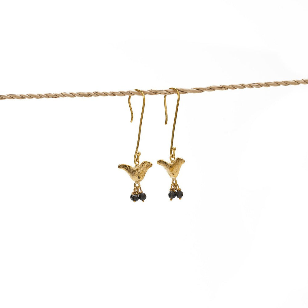 Earring Bird Stone brass gold black stone