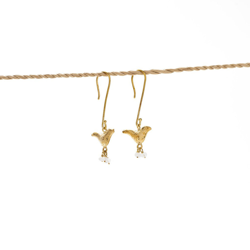 Load image into Gallery viewer, Earring Bird Stone brass gold white stone