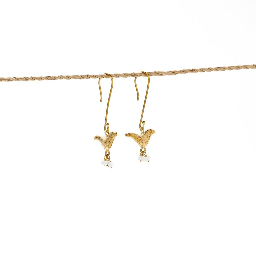 Earring Bird Stone brass gold white stone