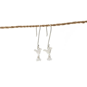 Load image into Gallery viewer, Earring Bird Stone silver plated white stone