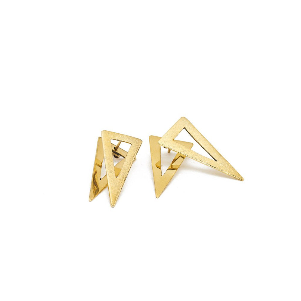 Earring Boho triangle hammered gold brass