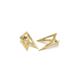 Earring Boho triangle hammered gold