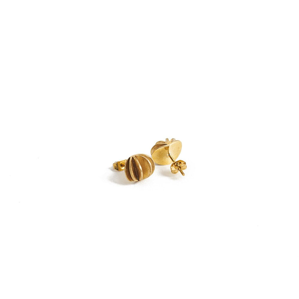 Load image into Gallery viewer, Earring Kipas Flower Stud Brass Gold Back