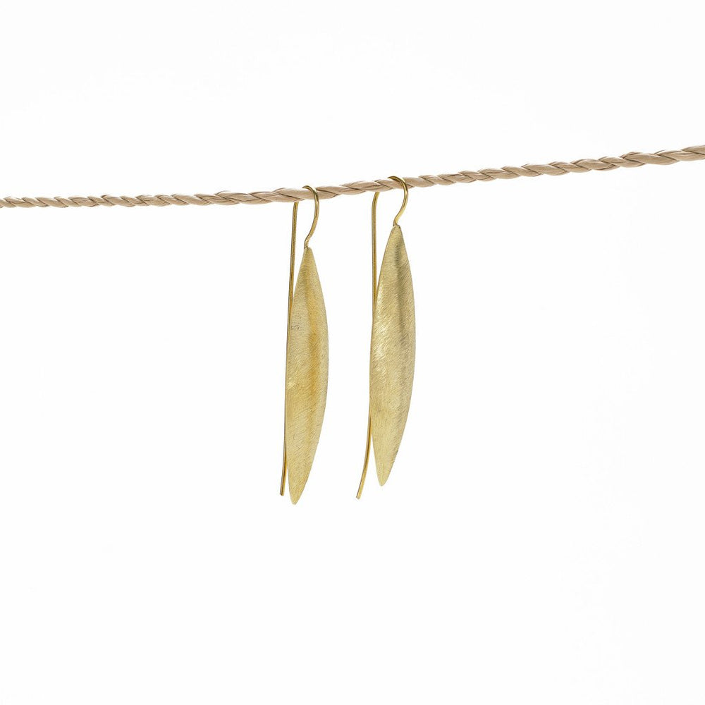 Earring Leaf Long Brass Gold