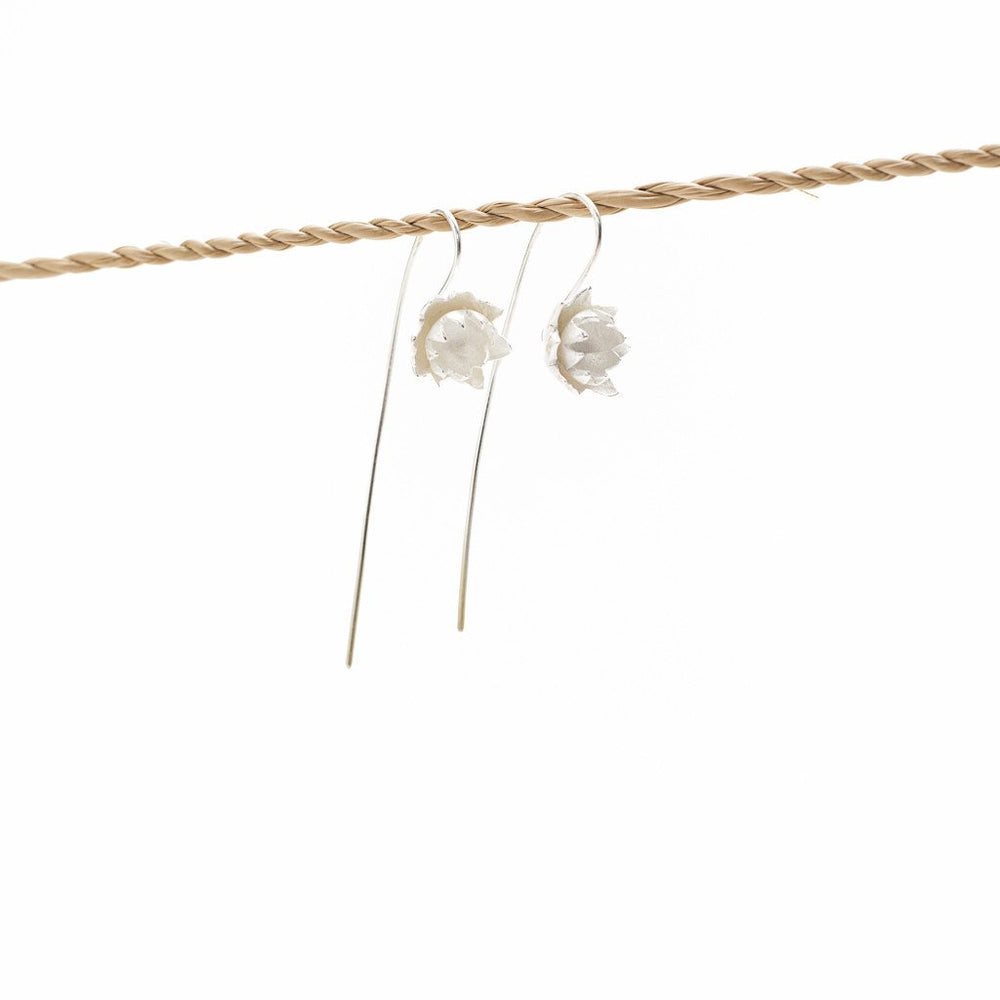 Load image into Gallery viewer, Earring Lotus Flower Hook Brass Silver Plated